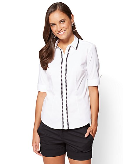 7th Avenue - Madison Stretch Shirt - Lace Trim - New York & Company