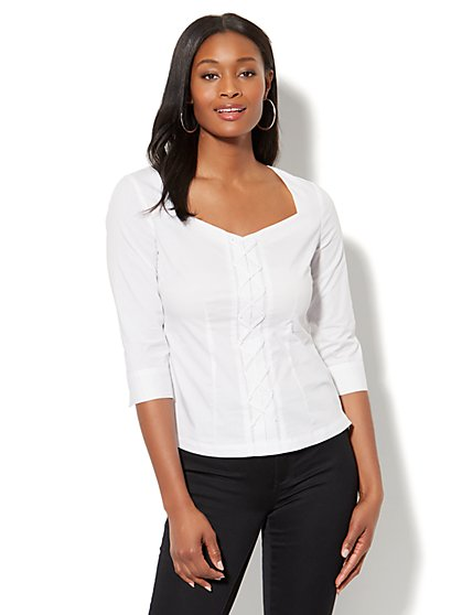7th Avenue - Madison Stretch Shirt - Lace-Up - New York & Company