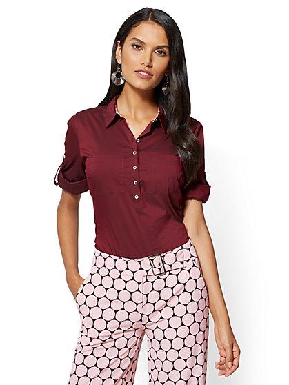 7th Avenue - Madison Stretch Shirt - Maroon - New York & Company