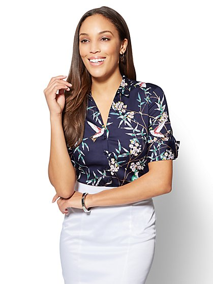 7th Avenue - Madison Stretch Shirt - Navy - Bird Print - New York & Company