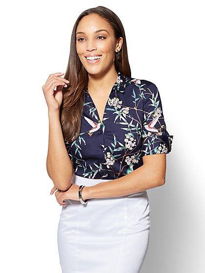 7th Avenue - Madison Stretch Shirt - Navy - Bird Print - New York & Company