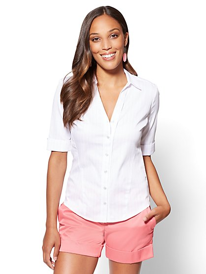 7th Avenue - Madison Stretch Shirt - Pink Stripe - New York & Company