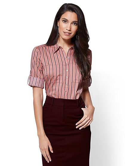 7th Avenue - Madison Stretch Shirt - Pink - Stripe - New York & Company