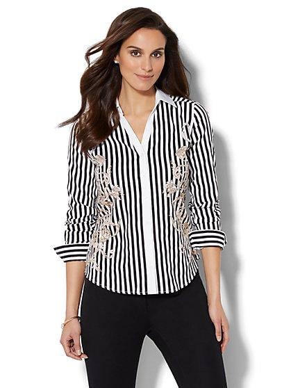 7th Avenue - Madison Stretch Shirt - Placement-Print Striped Shirt - New York & Company