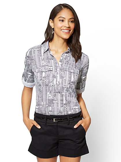 7th Avenue - Madison Stretch Shirt - Popover - City Print - New York & Company