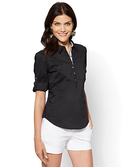 7th Avenue - Madison Stretch Shirt - Popover - Contrast Trim - New York & Company