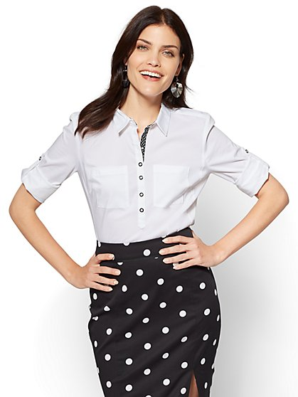 7th Avenue - Madison Stretch Shirt - Popover - Contrast Trim - New York & Company