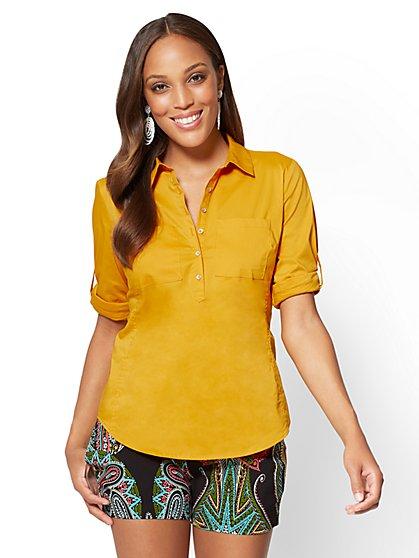 7th Avenue - Madison Stretch Shirt - Popover - Gold - New York & Company