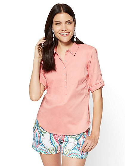 7th Avenue - Madison Stretch Shirt - Popover - Peach - New York & Company