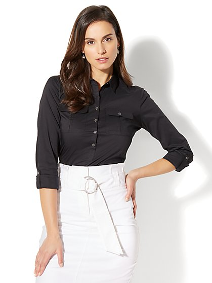 7th Avenue - Madison Stretch Shirt - Popover - Petite - New York & Company