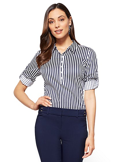 7th Avenue - Madison Stretch Shirt - Popover - Stripe - New York & Company