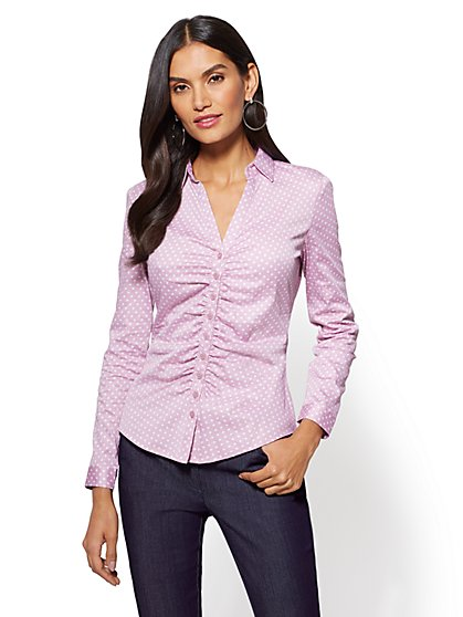 7th Avenue - Madison Stretch Shirt - Ruched - Dot Print - New York & Company