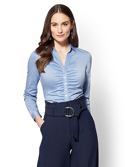 7th Avenue - Madison Stretch Shirt - Ruched - New York & Company