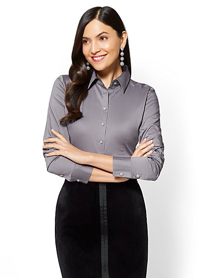 7th Avenue - Madison Stretch Shirt - Sparkling Buttons - Tall - New York & Company