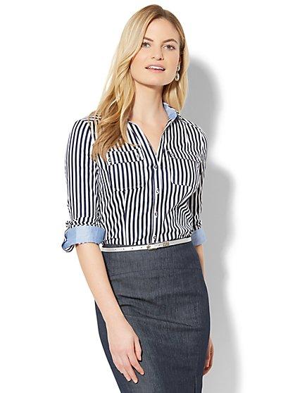 7th Avenue - Madison Stretch Shirt - Stripe - Petite - New York & Company
