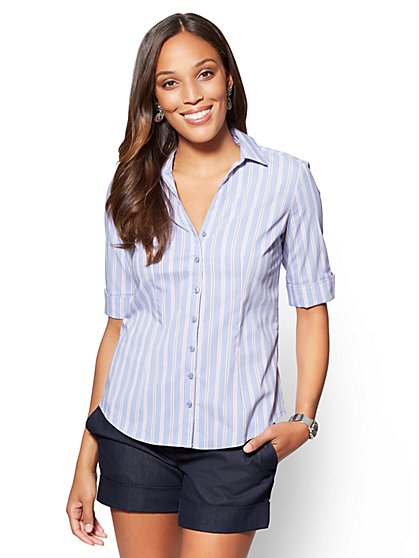 7th Avenue - Madison Stretch Shirt - Stripe - Petite - New York & Company