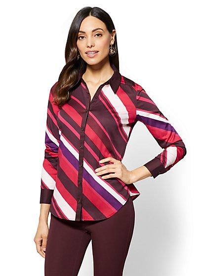 7th Avenue - Madison Stretch Shirt - Stripe - New York & Company