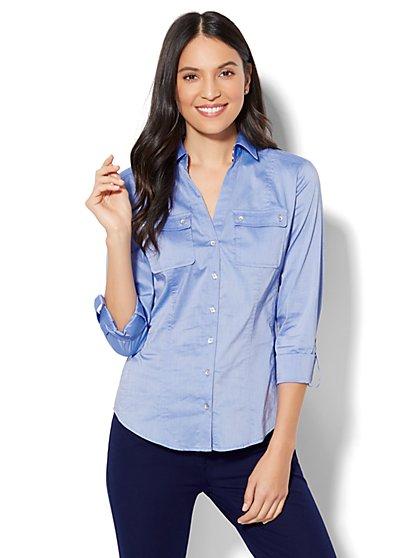7th Avenue - Madison Stretch Shirt - Striped Grosgrain-Trim - Petite - New York & Company