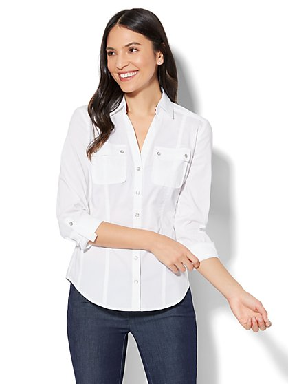 7th Avenue - Madison Stretch Shirt - Striped Grosgrain-Trim - New York & Company