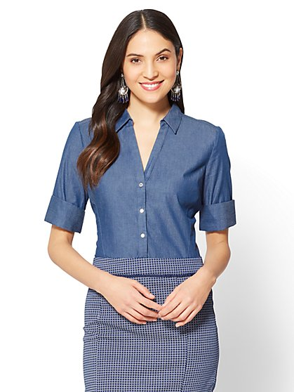 7th Avenue - Madison Stretch Shirt - Ultra-Soft Chambray - Medium Blue - New York & Company
