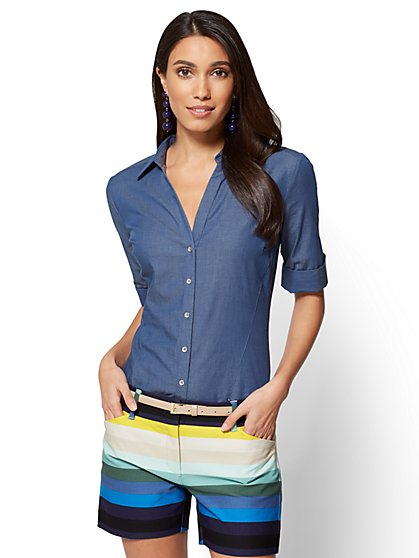 7th Avenue - Madison Stretch Shirt - Ultra-Soft Chambray  - New York & Company