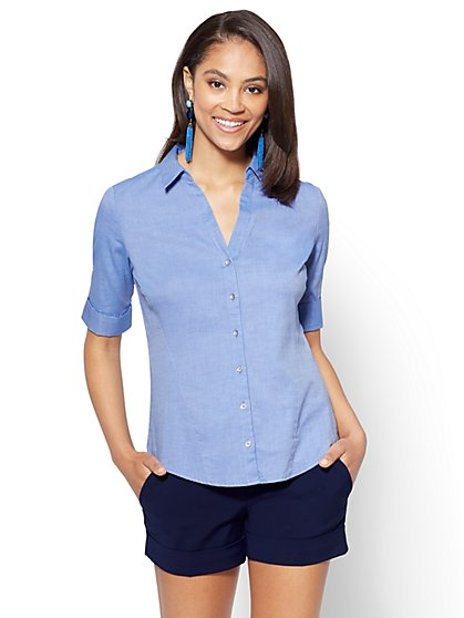 7th Avenue - Madison Stretch Shirt - Ultra-Soft Chambray  - New York & Company