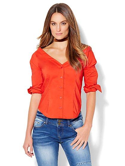 7th Avenue - Madison Stretch Shirt - V-Neck Off-The-Shoulder - New York & Company