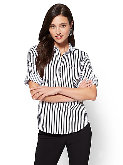7th Avenue - Madison Stretch Shirt - White - Stripe - New York & Company