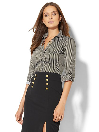 7th Avenue - Madison Stretch Shirt - Woodland Green  - New York & Company