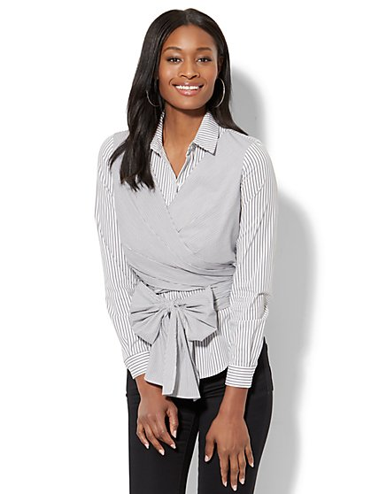 7th Avenue - Madison Stretch Shirt - Wrap-Front - Stripe - New York & Company