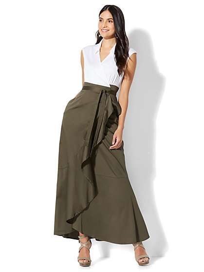 7th Avenue - Maxi Wrap Poplin Dress - New York & Company
