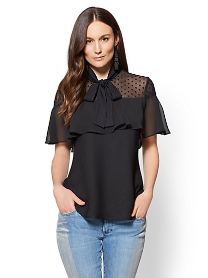 7th Avenue - Mesh-Accent Tiered Blouse - New York & Company