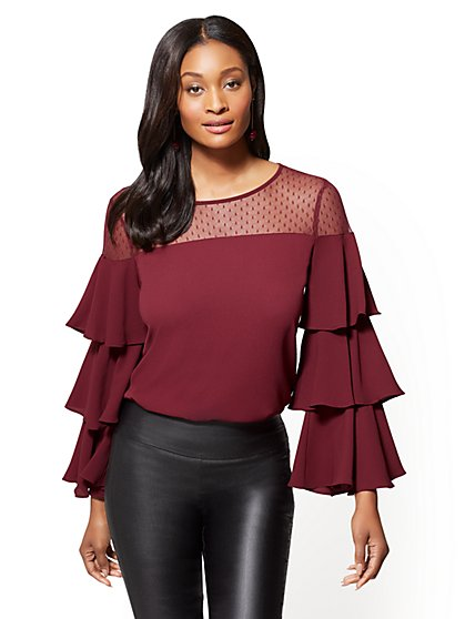 7th Avenue - Mesh Tiered-Sleeve Blouse - New York & Company