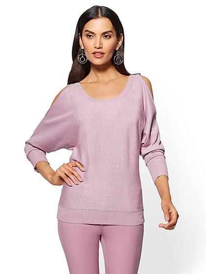 7th Avenue - Metallic Cold-Shoulder Sweater - New York & Company