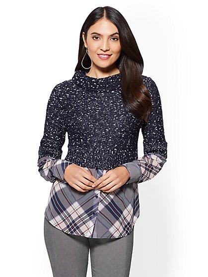 7th Avenue - Metallic Turtleneck Sweater - Navy - New York & Company