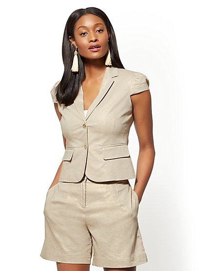 7th Avenue - Metallic Two-Button Jacket - New York & Company