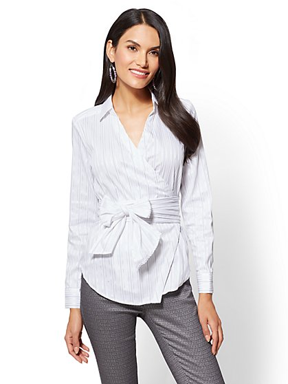 7th Avenue - Metallic Wrap-Front Shirt - Tall - New York & Company