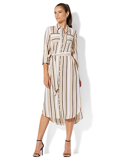 7th Avenue - Midi Shirtdress - Tan - New York & Company