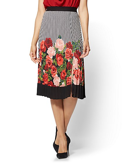 7th Avenue - Mixed-Print Pleated Skirt  - New York & Company