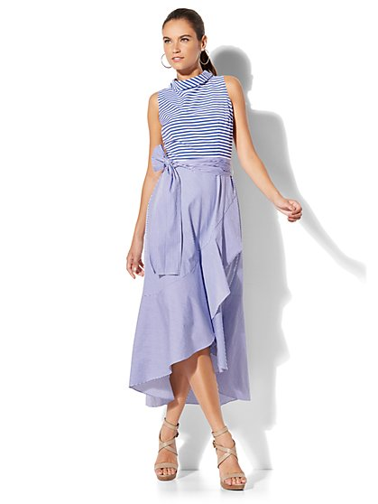 7th Avenue - Mixed-Stripe Ruffle Dress - New York & Company