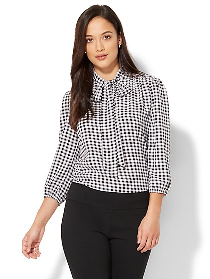 7th Avenue - Modern - Tie-Front Bow Blouse - Gingham - New York & Company