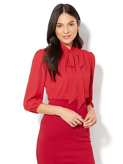 7th Avenue - Modern - Tie-Front Bow Blouse  - New York & Company