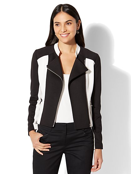 7th Avenue - Moto Jacket Black & White - New York & Company