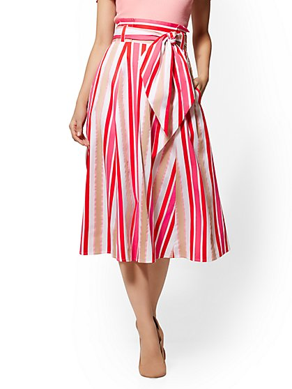 7th Avenue - Multicolor Striped Paperbag-Waist Full Skirt - New York & Company