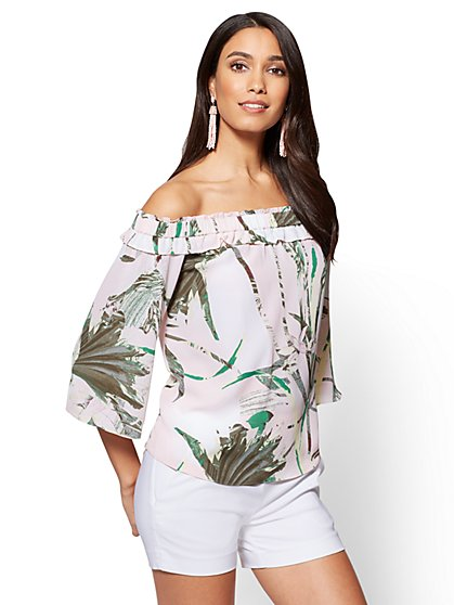 7th Avenue - Off-The-Shoulder Blouse - Pink - Tropical Print - New York & Company