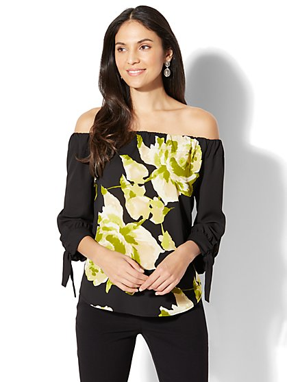 7th Avenue - Off-The-Shoulder Blouse - Print - New York & Company