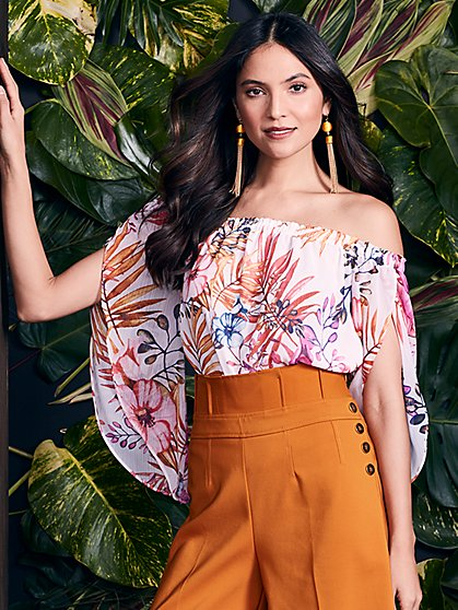 7th Avenue - Off-The-Shoulder Bodysuit - Floral - New York & Company