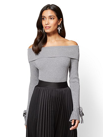 7th Avenue - Off-The-Shoulder Lurex Sweater - New York & Company