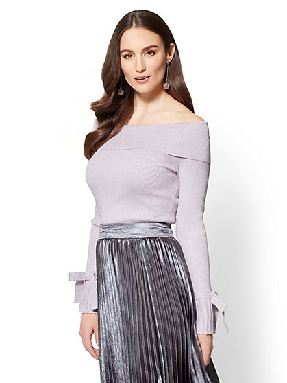7th Avenue - Off-The-Shoulder Metallic Sweater - New York & Company