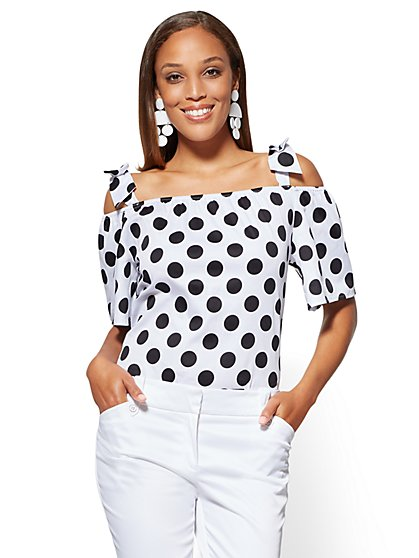 7th Avenue - Off-The-Shoulder Shirt - Dot Print - New York & Company